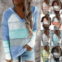 Women Patchwork V-Neck Long Sleeve Hooded Sweater Knitted Sweatshirt Blouse Tops