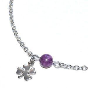 ZéeO Bijoux Chain Anklet Steel Argentécharoïte Purple Charm