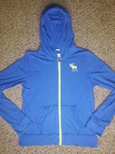 Abercrombie Kids Boys size XL Blue Sweatshirt Hoodie Full Zip Muscle Fit
