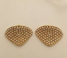 Beautiful Vintage Shoe Clips Gold Tone Faux Pearl (J259)