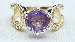 1.70 ct DIAMOND & AMETHYST SOLITAIRE ring 14k YELLOW gold (VIDEO)