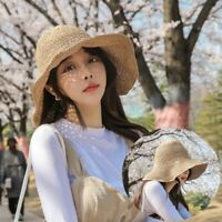 Handmade Straw Hats Bucket Hat Sun Hats Wide Brim Floppy Summer Hats Women Beach