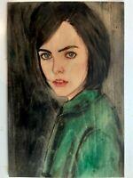 UNIKAT Malerei auf Holz,Acryl,Aquarell Bilder Bleistift,Erotik Akt Portrait VC