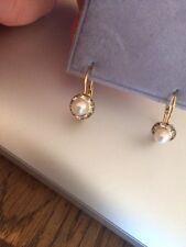 Vuelve pendientes de perlas y cristal de alambre para orejas perforadas sin etiqueta metal base de latón
