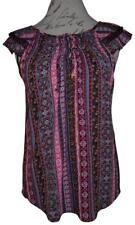 NO BOUNDARIES Maroon Pink Blue Floral Striped Lace Trim Loose Boho Blouse Top M