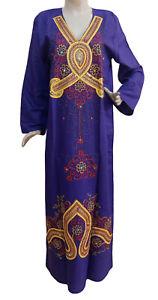 XL Size 14 Egyptian Kaftan Caftan Galabeya Dress Embroidered Abaya Jilbab Purple