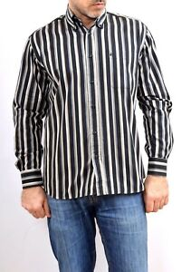 RB Roccobarocco Striped Black Beige Vintage 80s SHIRT 15 1/2 39 M Size VERY GOOD
