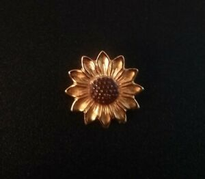 Vintage SUNFLOWER FLOWER  Goldtone Brown Pin Brooch