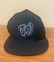 WASHINGTON NATIONALS New Era 59Fifty Fitted WOOL MLB Baseball Hat  Black 7 1/2
