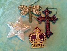 Set/4 Felt Wool Jeweled Beaded Cross Crown Star Dragonfly Christmas Orns Buy Sam