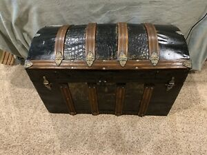 Antique Metal and Oak dome top trunk