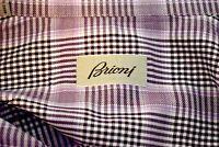 Brioni Mens lavender Purple Black Cotton Button Front Shirt Large