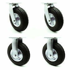 8 Inch Black Pneumatic Wheel Caster Set 2 Swivel 2 Rigid Service Caster Brand