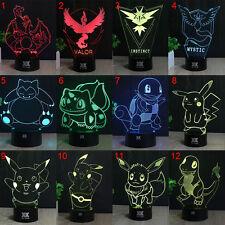 Pokemon 3D LED 7 Couleur Nuit Lumière Veilleuse Lampes de Table Créatif Cadeau