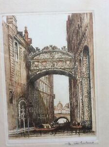 Antique etching of Bridge of Sighs Venice by Edward Sharland, signed in pencil