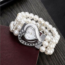 Unique Heart Shape Dial Beads Pearl Rhinestone Women Watches Bracelet Bangle