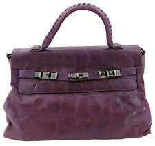 Luana Tasche violett Leder Kroko optik Henkeltasche Handtasche bag sac top