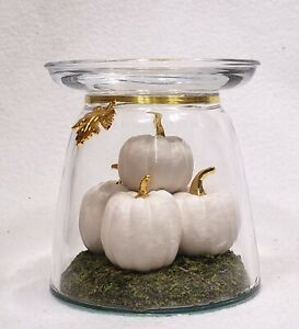 Bath & Body Works WHITE HARVEST PUMPKIN GOLD 3-Wick Candle Holder Glass Pedestal