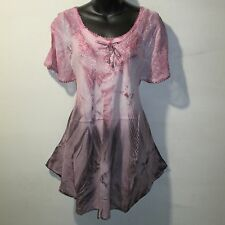 Top Fits 1X 2X 3X Plus Tunic Pink Mauve Tie Dye Lace Sleeve A Shaped NWT G6480
