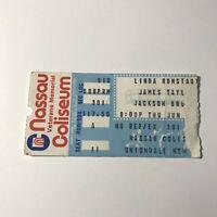 Linda Ronstadt James Taylor Nassau Coliseum Concert Ticket Stub Vintage 1982