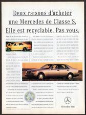 1993 MERCEDES S Class Vintage Original Print AD - Silver car photo French Canada