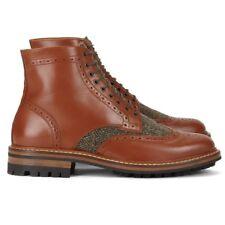 Mens Aldo Mr.B's Lieng Leather Brogue Boot with Harris Tweed Sz.7 Classic BNIB