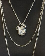 """CAPWELL GORGEOUS MULTI STRAND SILVER TONE NUGGET PENDANT 32"""" NECKLACE- WOW! NWT!"""