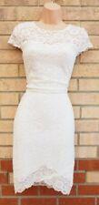 New Look Blanco Floral Encaje Mangas Cortas Vestido ceñido al cuerpo de Verano Dobladillo Envolvente 10 S