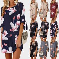 Fashion Womens Floral Long Tops Blouse Ladies Summer Beach Shirt Dress Plus Size