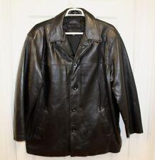 Bostonian Mens Leather Coat Jacket Sz XL Black Soft Supple 4 Button Fully Linned