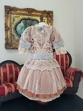 "Vintage French victorian  dress 16"" for antique bisque German doll 24-26"""