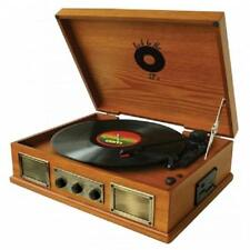 NEW*BACK TO THE 50'S*3 SPEED WOODEN Turntable RECORD PLAYER*with Speakers,USB/SD