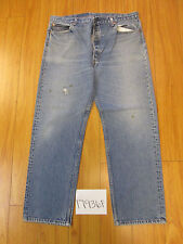 destroyed levi feathered 501 USA grunge jean tag 42x34 meas 37x30.5 17936Fa