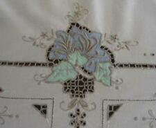 Vintage Banquet Tablecloth Pink Cutwork Embroidery Needle Lace Spring Floral