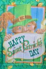 Happy St Patrick's Day Leprechaun Peeking Standard House Flag by NCE #66026
