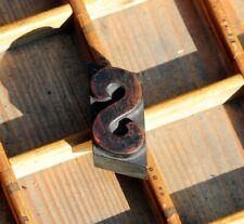 letter: S rare wood type letterpress printing block woodtype font antique print.