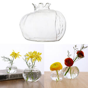 Small Clear Glass Bud Vase Pomegranate Shape Floral Vase for Home Decor Wedding