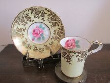 Paragon England Handpainted Demitasse Cup And Saucer Yellow Gold Cabbage Rose