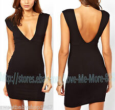 Sexy Plunging V Neck Backless Clubbing Party Casual Stretch Bodycon Dress MEDIUM