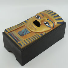 King Tut Egyptian Tissue Box Cover Resin Black Gold