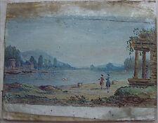 Dipinto, paesaggio in miniatura con personaggi su vetro XVIII secolo - 1700