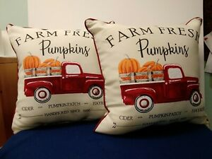 Indoor/Outdoor Toss Pillows Red Truck With Pumpkins Polyester 16X16 Set Of 2