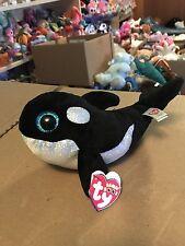 "Ty SHAMU -Black/White Orca Whale 6"" Beanie Boo! *SeaWorld Exclusive* RARE & VHTF"