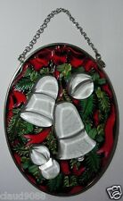 """AMIA GLASS CHRISTMAS BELLS LARGE OVAL SUN-CATCHER - HAND PAINTED"""" 8041  MINT"""