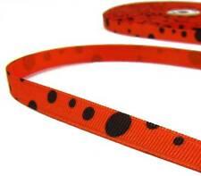 """5 Yds Halloween Orange Black Scatter Polka Dot Grosgrain Ribbon 3/8""""W"""