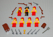 LEGO Minifigures 7 Red Pirates People Army Weapons Pistols Swords Minifigs Guys