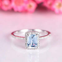 2.10Ct Emerald Cut Aquamarine Diamond Halo Engagement Ring 14K White Gold Finish