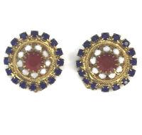 Vintage Red White & Blue Rhinestone Clip On Earrings Patriotic Costume Jewelry