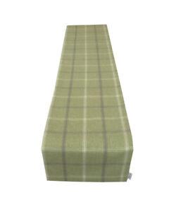 Highlands Lewis Sage Green Tartan Tweed Faux Wool lined table/Bed runner made UK