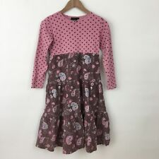 Mini Boden Girls Dress 11 12 pink polka dot brown paisley corduroy long sleeved